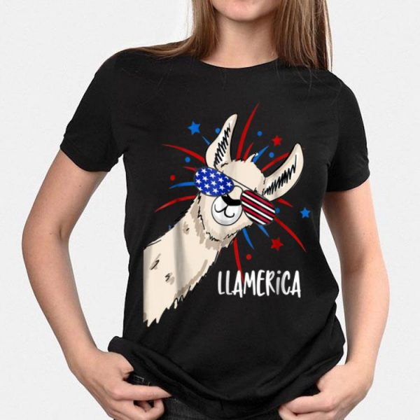 Patriotic Llama Party For The Fourth Of July Sunglass shirt