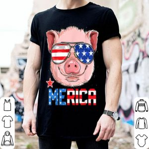 Pig Merica 4th of July Girls Kids American Flag USA shirt