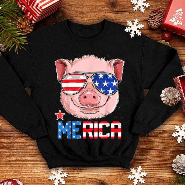 Pig Merica 4th of July Girls Kids American Flag USA shirt