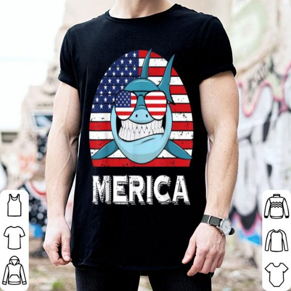 Vintage Merica Shark American Flag 4th Of July shirt