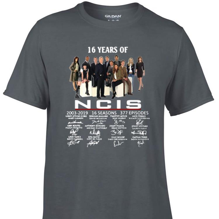 Awesome 16 Years Of NCIS 2003 2019 Signatures shirt 1 - Awesome 16 Years Of NCIS 2003-2019 Signatures shirt