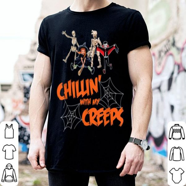 Beautiful Chillin With My Creeps Vampire Halloween Skeleton Witch Gift shirt