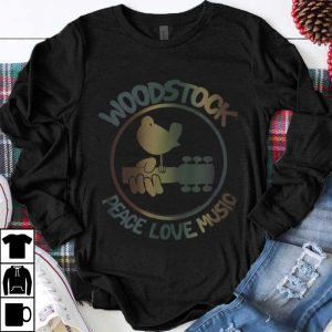 Funny Woodstock Peace Love Music Technicolor Birdie shirt