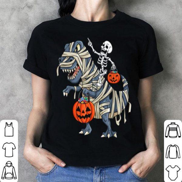 Official Skeleton Riding T Rex Funny Halloween Boys Girls Kids shirt