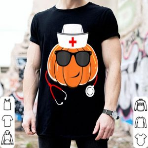 Original Funny Pumpkin Face Wear Glasses Stethoscope Nurse Halloween shirt