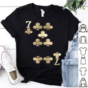 Top 7 Of Clubs - Playing Card Halloween Costume Gold shirt