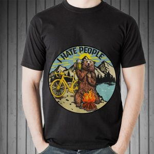 Top I Hate People Cyling Bear Drinking Beer Camping Fire guy tee