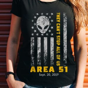 Wonder Storm Area 51 They Can't Stop All Of Us Alien Face American Flag shirt