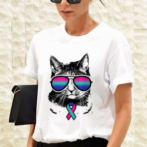 Awesome Cat Thyroid Cancer Awareness Sunglass shirt 2