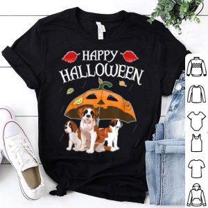 Beautiful Saint Bernards In Scary Umbrella Rain Night Happy Halloween shirt