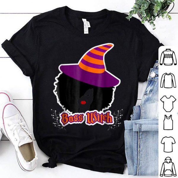 Hot African American Halloween Boss Witch Natural Hair shirt
