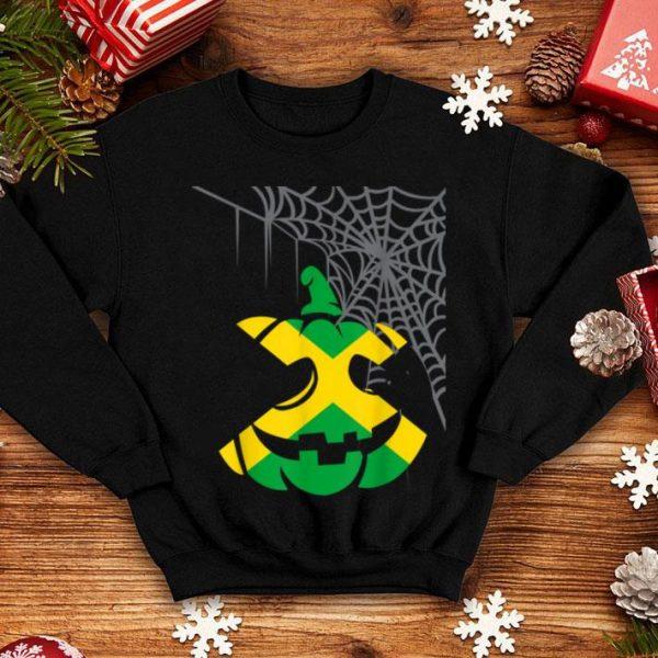Jamaica Halloween Costume Jamaican Flag Pumpkin Spiderweb shirt