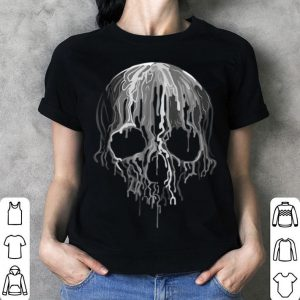 Melting Skull Black White Art Graphic Halloween shirt
