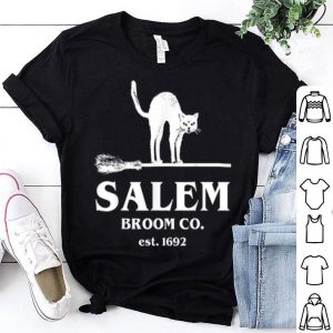 Official Salem Broom Company Women, Halloween Black Cat Witch shirt