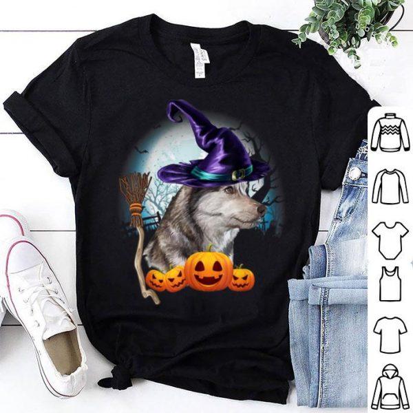 Original Husky Witch Hat Dog Halloween Costume Gift Funny Dog Lovers shirt