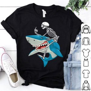 Skeleton Riding Shark Funny Halloween shirt