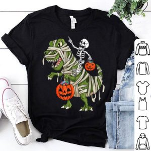 Skeleton Riding T Rex Funny Halloween Boys Girls Kids shirt