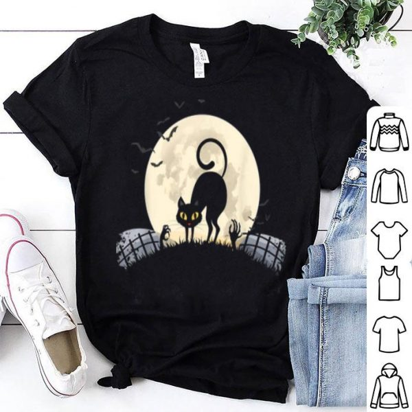 Top Black Cat Halloween Costume Full Moon Bats shirt