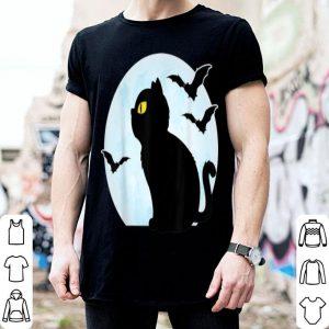 Top Black Cat Halloween Funny Witch Cute kitten Men Women Kids shirt
