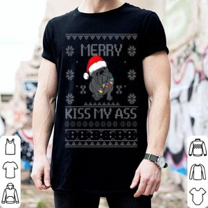 Awesome Christmas Bulldog Art Merry Kiss My Ass Funny Santa Hat Ugly shirt