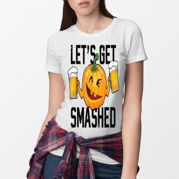 Awesome Lets Get Smashed Funny Pumpkin Beer Halloween Costume shirt