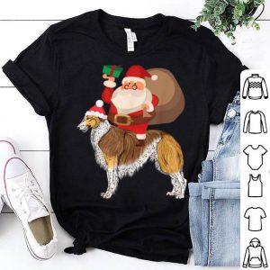 Beautiful Santa Riding Borzoi Christmas Pajama Gift shirt