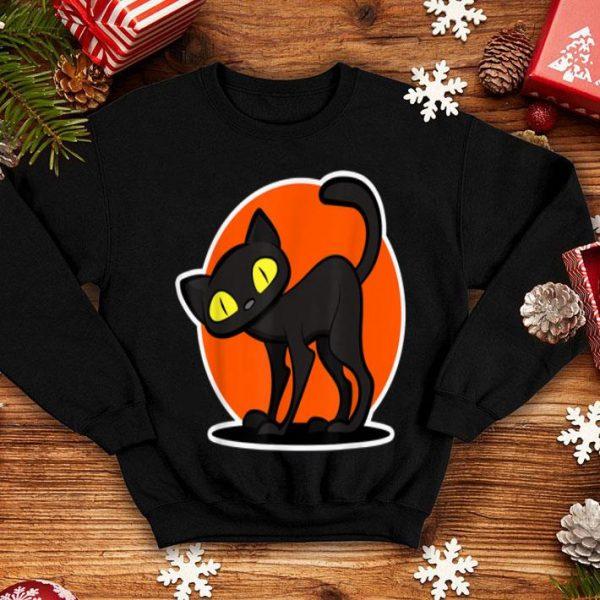 Beautiful Scary Halloween cute Black Cat Women Men Kids Gift shirt