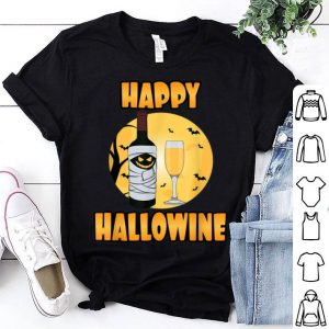 Funny Happy Hallowine - Funny Halloween Wine Pun shirt