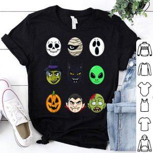 Hot Scary Faces Halloween Emoji Boys Girls Kids Gift shirt