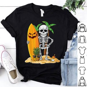 Hot Skeleton Surfing Halloween Gifts Hawaii Hawaiian Men Surfer shirt