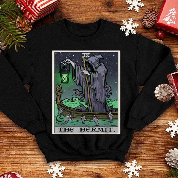 Hot The Hermit Tarot Card Gothic Halloween Grim Reaper Goth Gift shirt