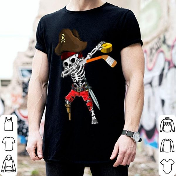 Nice Dabbing Skeleton Jolly Roger Pirate Ice Hockey Halloween shirt