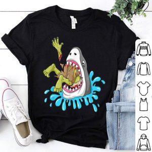 Original Shark Eats Zombie Funny Halloween Boys Girls Kids shirt