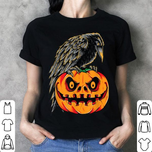 Premium Creepy Black Raven Retro Vintage Pumpkin Halloween Gift shirt