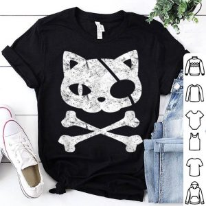 Premium Vintage Pirate Cat Kitten Halloween Skull Cross Bones shirt