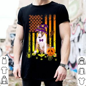 Top Bull Terrier Pumpkin In Flag Halloween Dog Gift shirt