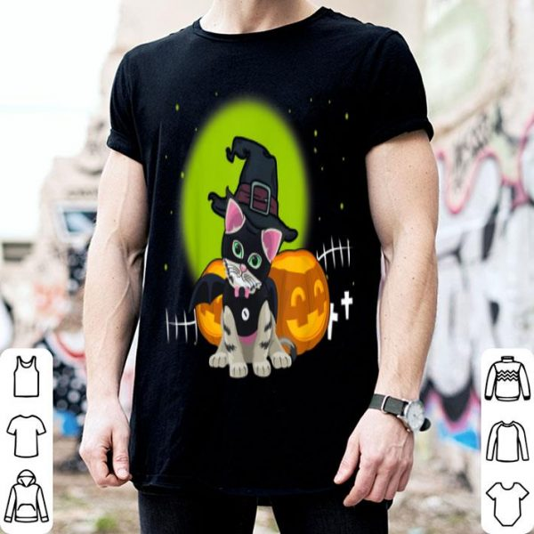 Top Scary Halloween Black Cat Costume Witch Hat & Moon shirt