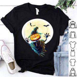 Top Scary Pumpkin Scarecrow Halloween Costume Bats & Moon shirt