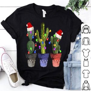 Awesome Cactus Christmas Lights Decoration Santa Hat Cactus Lovers shirt