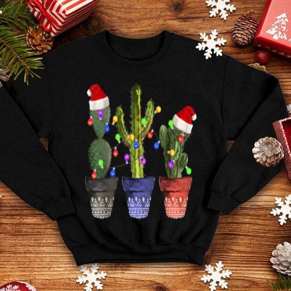 Awesome Cactus Christmas Lights Decoration Santa Hat Cactus Lovers shirt