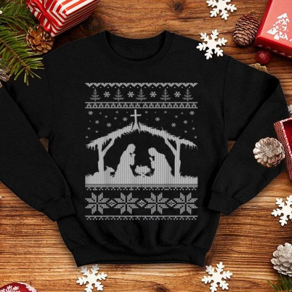 Awesome Nativity Scene Ugly Christmas Sweater Design shirt