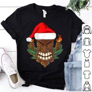 Awesome Tiki with Santa Hat Christmas Hawaii sweater