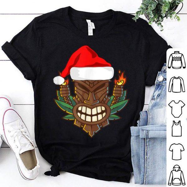Awesome Tiki with Santa Hat Christmas Hawaii sweater
