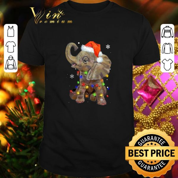 Cool Elephant santa Christmas light shirt