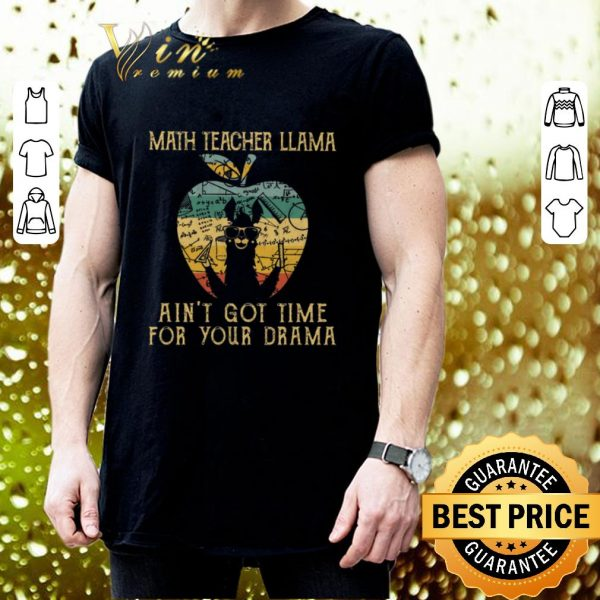 Cool Math teacher llama ain't got time for your drama apple vintage shirt