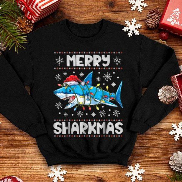 Hot Merry Sharkmas Shark Santa Ugly Christmas Boys Xmas shirt