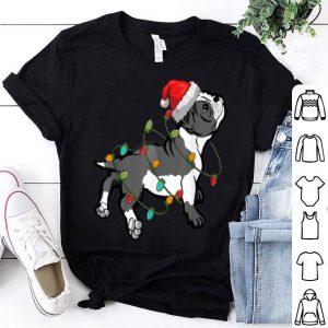 Nice Boston Terrier Christmas pajama Santa Hat Lights Dog Lover shirt