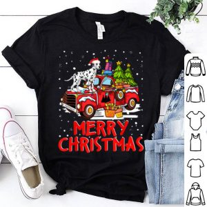 Nice Dalmatian Rides Red Truck Merry Christmas Pajama Funny Gifts shirt