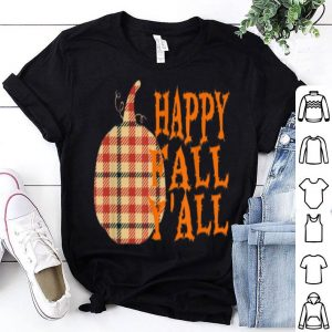 Nice Halloween Happy Fall Y'all Plaid Pumpkin shirt