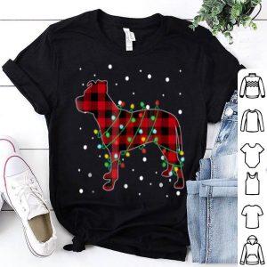 Nice Red Plaid Pitbull Christmas Pajama shirt